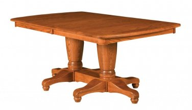 Amish Rectangle Pedestal Dining Table Wood Traditional Rustic Kitchen Furniture