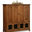 Amish TV Entertainment Center Solid Oak Wood Media Hutch Cabinet Storage New