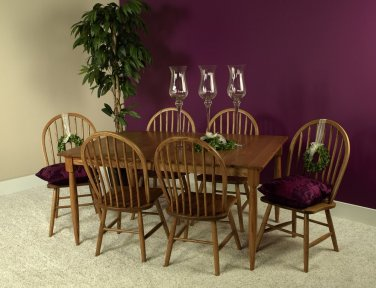 Amish Rectangle Dining Set Table Chairs Farmhouse Solid Wood 7 Piece Oak New