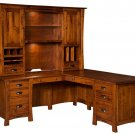 Arts and Crafts Amish Executive Corner Computer Desk Office Solid Wood Furniture