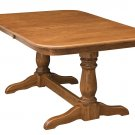 Amish Double Pedestal Dining Table Traditional Oak Solid Wood Country Furniture