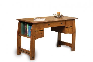 Amish Computer Writing Desk Library Table Solid Wood Office Furniture Bookcase