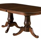 Amish Double Pedestal Dining Table Traditional Solid Wood Furniture 42x72 Leaves