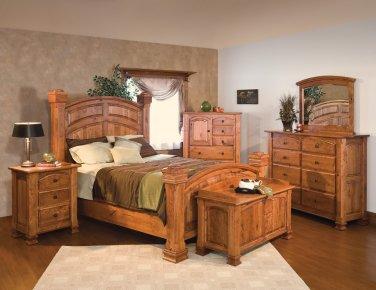 Luxury Amish Rustic Cherry Bedroom Set Solid Wood Full Queen King Bed Cabin