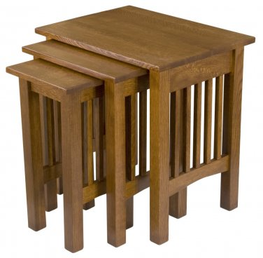 Amish Mission Nesting Snack End Side Tables TV Trays Solid Wood Stacking Set 3