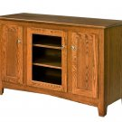 "Amish TV Stand Solid Wood 52"" Console Cabinet Flat Plasma LCD Media Maple Oak"