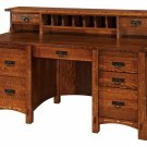 Amish Handcrafted Mission Computer Desk Inlays Topper File Office Furniture
