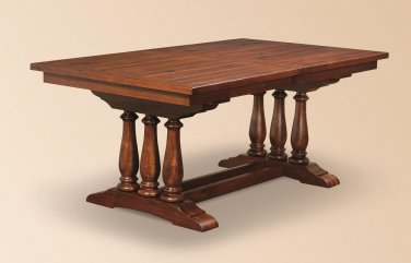 Amish Trestle Dining Table Plank Rectangle Extending Leaf Wood Rustic Bench