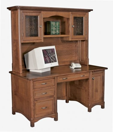 Amish Computer Desk Hutch Home Office Wood Furniture Westlake Traditional
