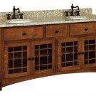 """Amish Bathroom Vanity Free Standing Sink Cabinet Granite Top 72""""w Solid Wood"""