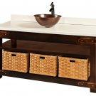 "Amish Bathroom Vanity Free Standing Vessel Sink Solid Surface Top Baskets 60""w"