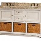 """Amish Cottage Bathroom Vanity Free Standing Sink Granite Top Baskets 60""""w Solid"""