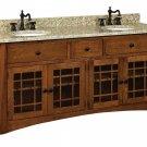 """Amish Mission Bathroom Vanity Free Standing Sink Cabinet Granite Top 72"""" Wood"""