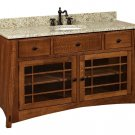 """Amish McCoy Mission Bathroom Vanity Free Standing Sink Cabinet Granite Top 60""""w"""