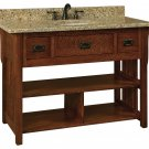 "Amish Bathroom Vanity Free Standing Sink Cabinet Granite Top 48"" Solid Wood"