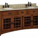 """Amish Bathroom Vanity Free Standing Sink Cabinet Black Granite Top 72""""w Wood"""