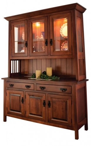 "Amish Ouray Dining Room Hutch China Cabinet Solid Wood 60""w"
