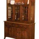 Amish Newport Arts & Crafts Hutch China Cabinet Solid Wood