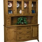 Amish Montpelier Farmhouse Hutch China Cabinet Solid Wood