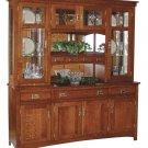 Amish Cape Cod Arts & Crafts Mission Hutch China Cabinet Solid Wood