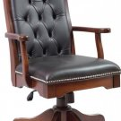 Amish Office Executive Desk Chair Solid Wood Leather Upholstery Tufted