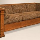 Amish Mission Arts and Crafts Sofa Couch Upholstered Solid Wood Back Surround