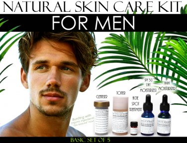 Natural Skin Care Kit For Men, Oily Skin, Enlarged Pores, and Acne Basic Set of 5