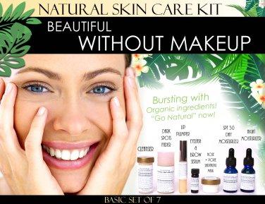 Beautiful Without Makeup Natural Skin Care Kit For Facial Features Enhancement Basic Set of 7