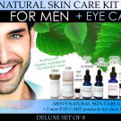 Deluxe Mens Natural Skin Care Kit Plus Eye Care Set of 8