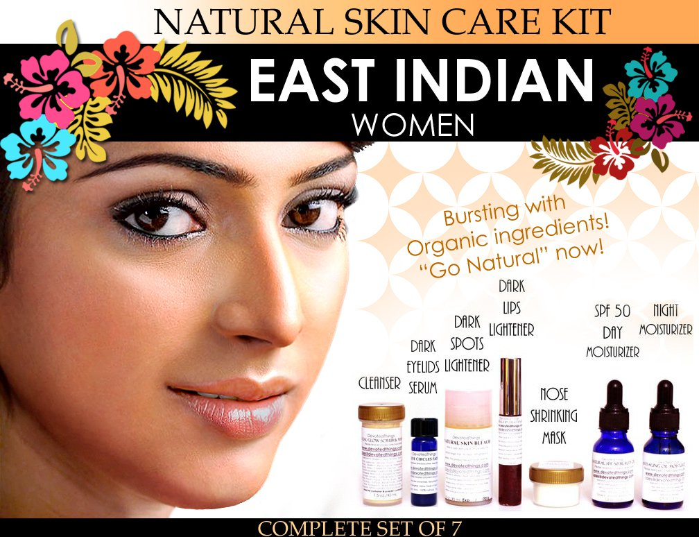 Natural Skin Care Kit for East Indian Women Features Lightening and Toning Set of 7