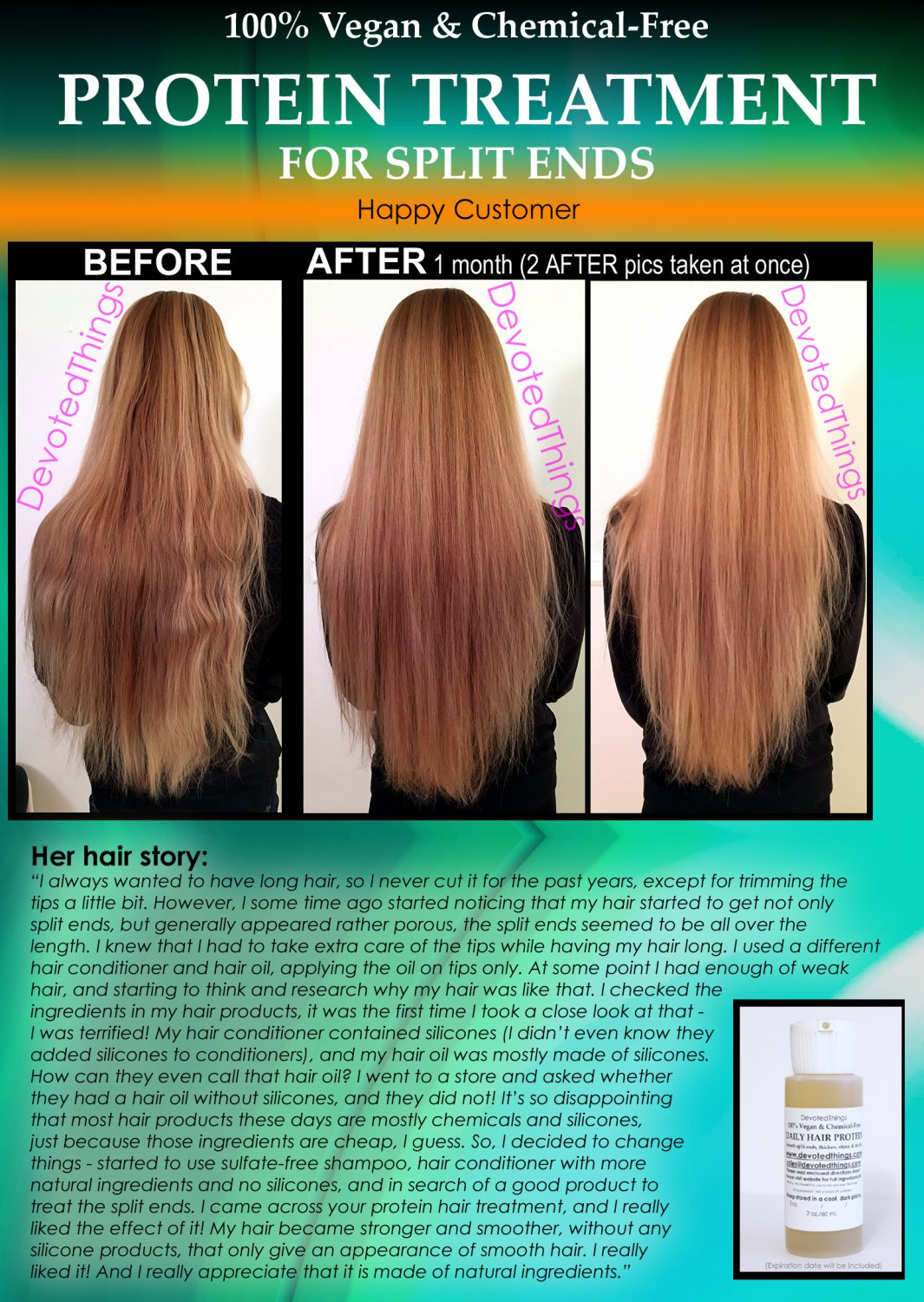 Vegan Hair Protein Treatment Natural Split Ends Repair For Women