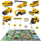 Construction Vehicles Truck Toys Set with Play Mat - 8 Mini Engineer Diecast Pul
