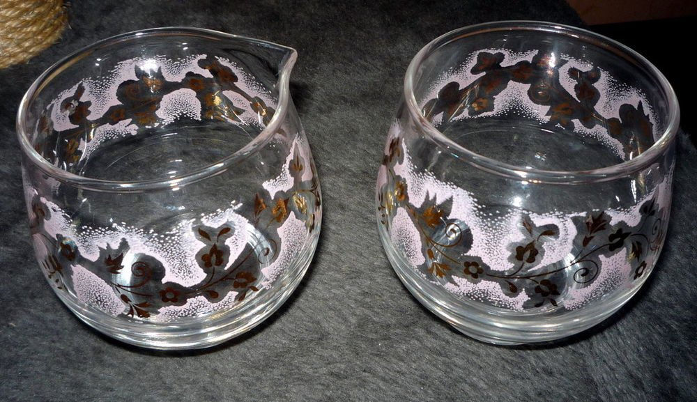 Vintage LIBBEY Glass Creamer Set Pink and Gold Leaf Libby Retro Mid Century