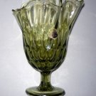 Vintage FENTON Glass Green Handkerchief Thumbprint Swung Vase