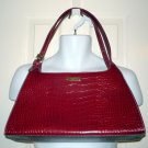 LIZ CLAIBORNE Faux Leather Red Alligator Purse Handbag Shoulder Bag