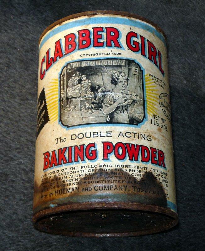 Vintage CLABBER GIRL BAKING POWDER Metal Can Empty Large Size 1 lb. 9 oz. No Lid