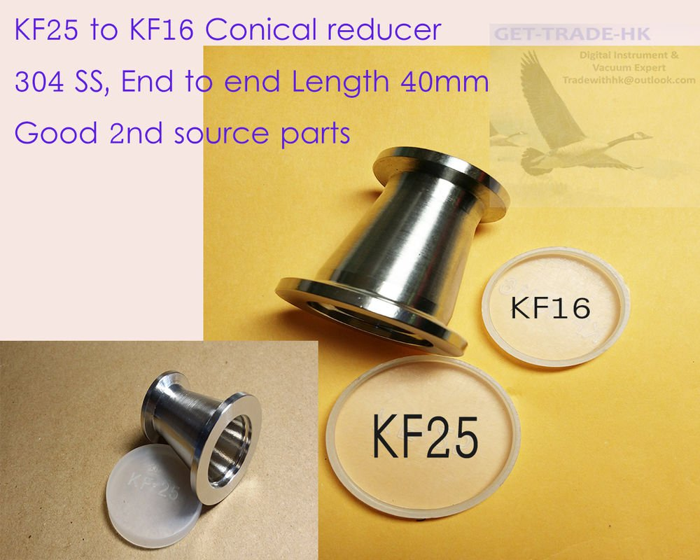 KF-25 (NW-25) to KF-16 (NW-16) Conical Reducer, 304 SS, Vacuum Adapter