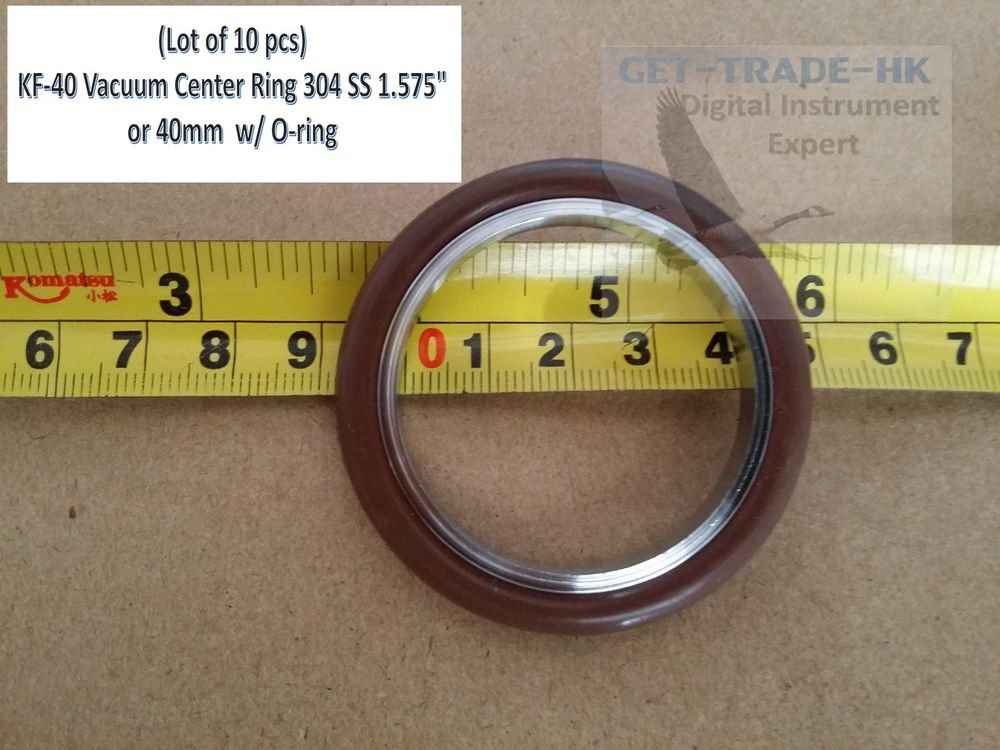 """KF-40 NW-40 Vacuum Center Ring 304 SS 1.575"""" or 40mm  w/ O-ring (Lot of 10 pcs)"""