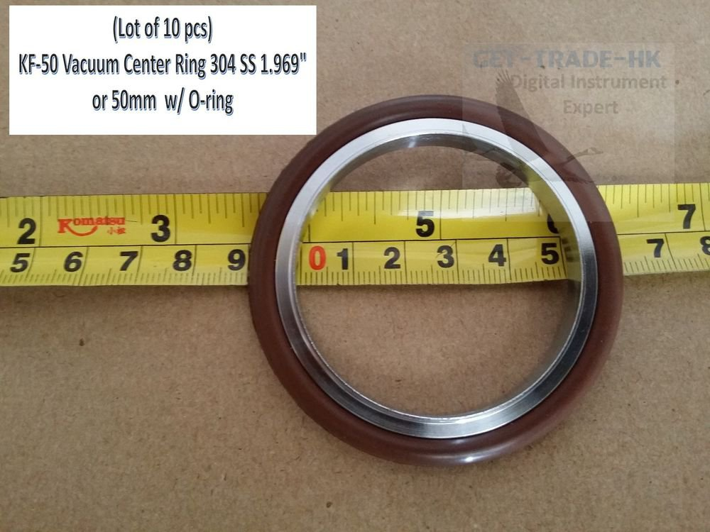"""KF-50 NW-50 Vacuum Center Ring 304 SS 1.969"""" or 50mm  w/ O-ring (Lot of 10 pcs)"""