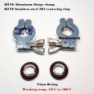 2 sets KF16 Aluminium vacuum clamp ring + SS304 centering ring w/ O-ring = Viton