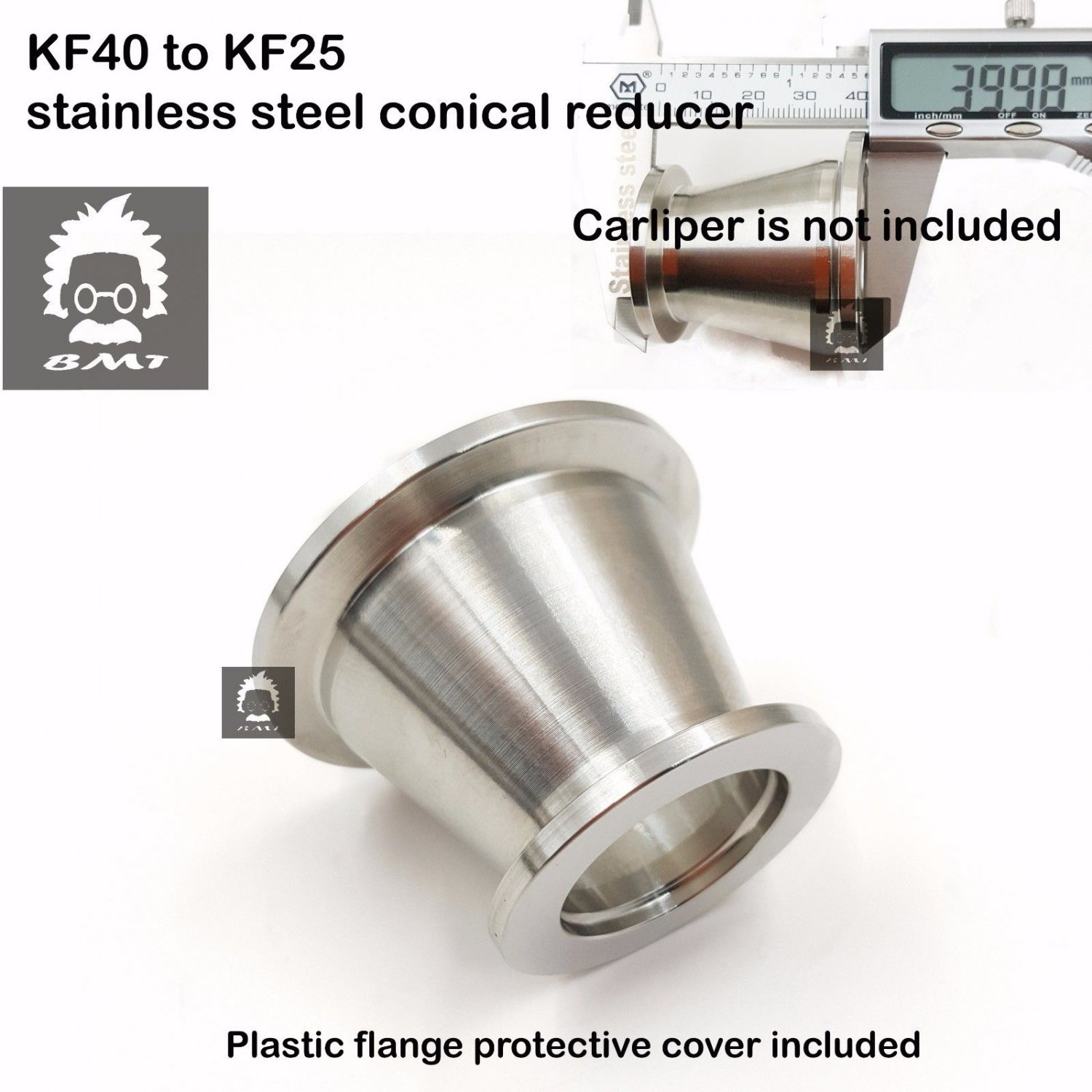 KF40 (NW40) to KF25 (NW25) Flange vacuum conical reducer, Stainless steel 304