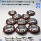 "KF16 Stainless steel 304 Centering Ring 0.63"" 16mm  viton O-ring (10 pcs pack)"