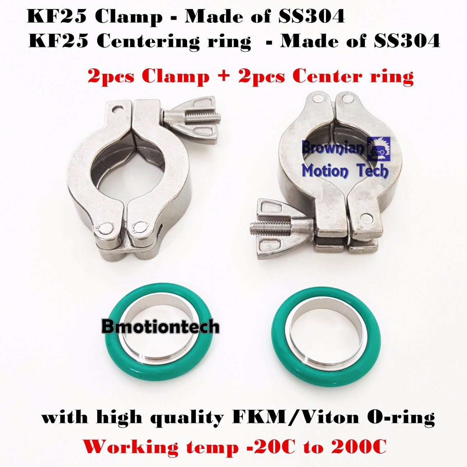 2 sets KF25 Stainless steel vacuum clamp ring + Center ring with FKM viton Oring