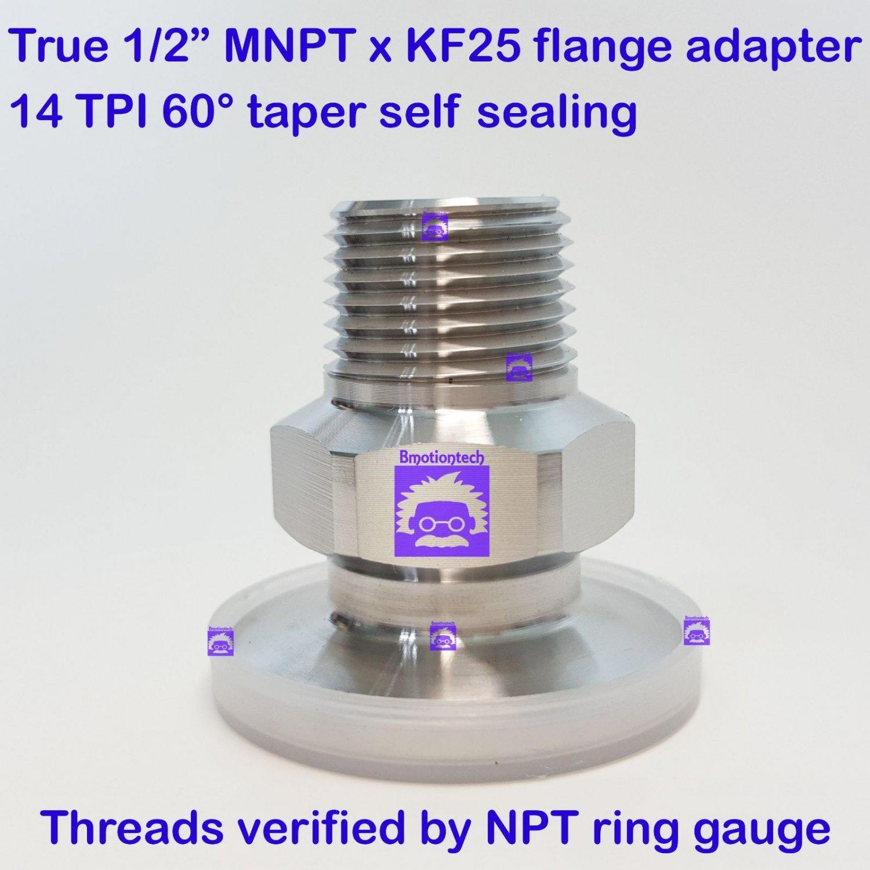 "True 1/2"" Male NPT X KF25 Flange Stainless Steel 304 Vacuum Adapter MNPT"