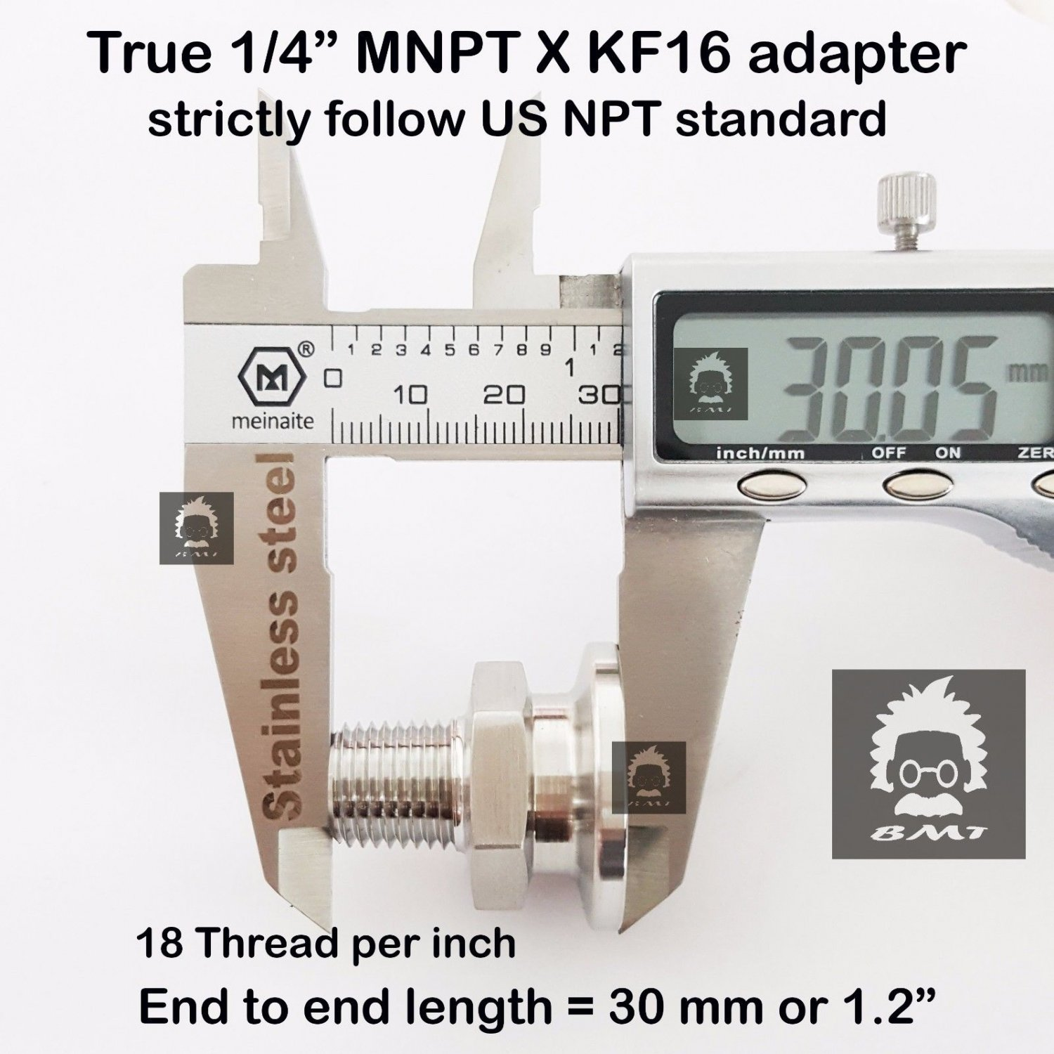 "True 1/4"" Male NPT X KF16 flange stainless steel vacuum adapter MNPT"