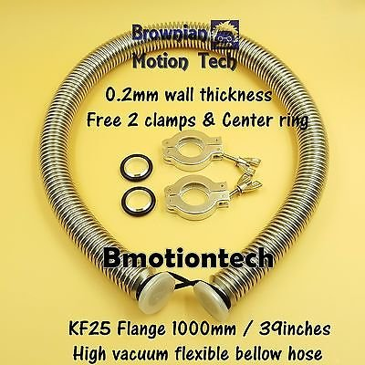 KF25 flange vacuum bellow hose 1000mm SS304 with 2 sets clamper & O-ring Combo 3