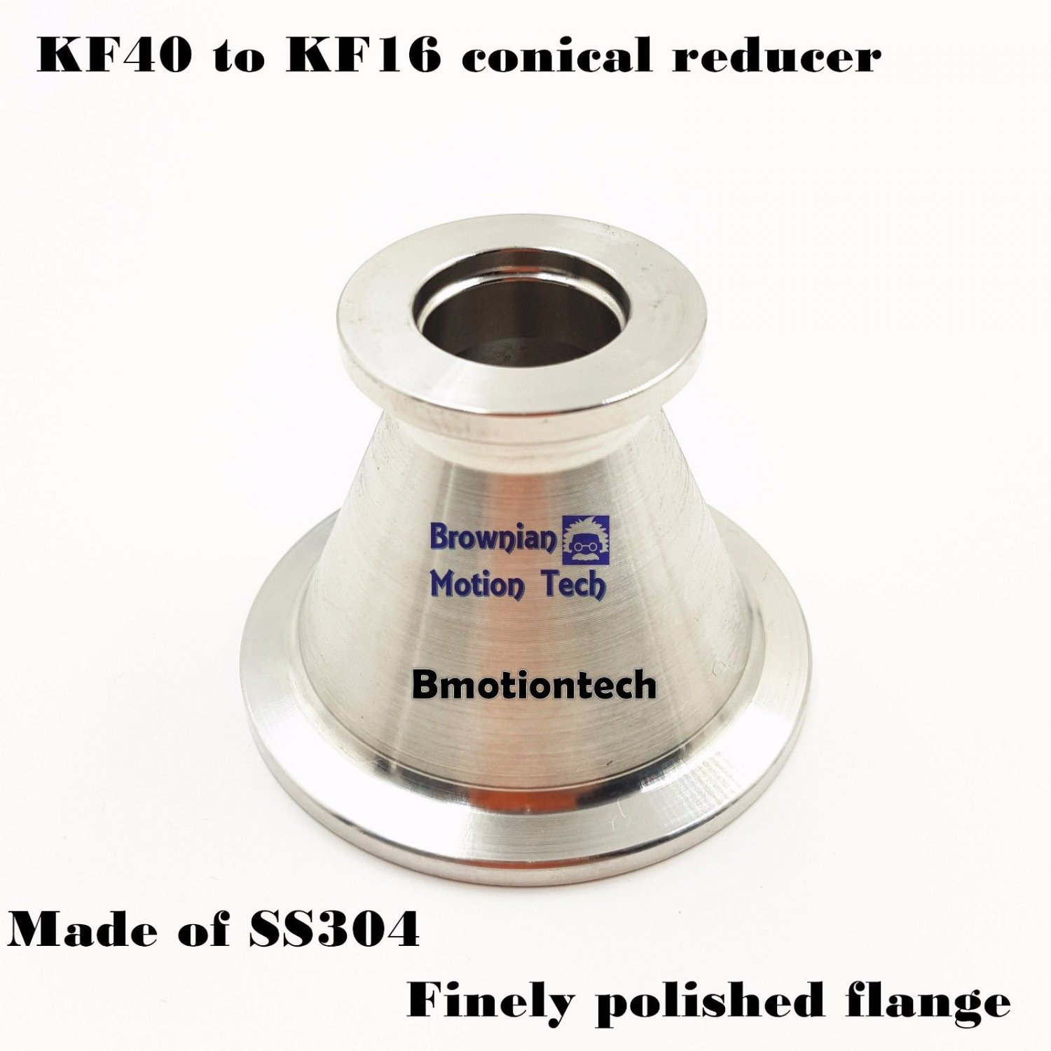 KF40 (NW40) to KF16 (NW16) Flange vacuum conical reducer, Stainless steel 304