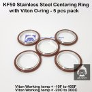 KF50 Stainless steel  vacuum Centering Ring with O-ring = Viton (5pcs pack)