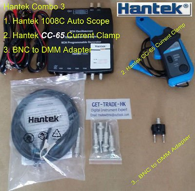 Combo 3 of Hantek 1008C scope + CC-65 AC/DC Current Clamp + BNC to DMM adapter