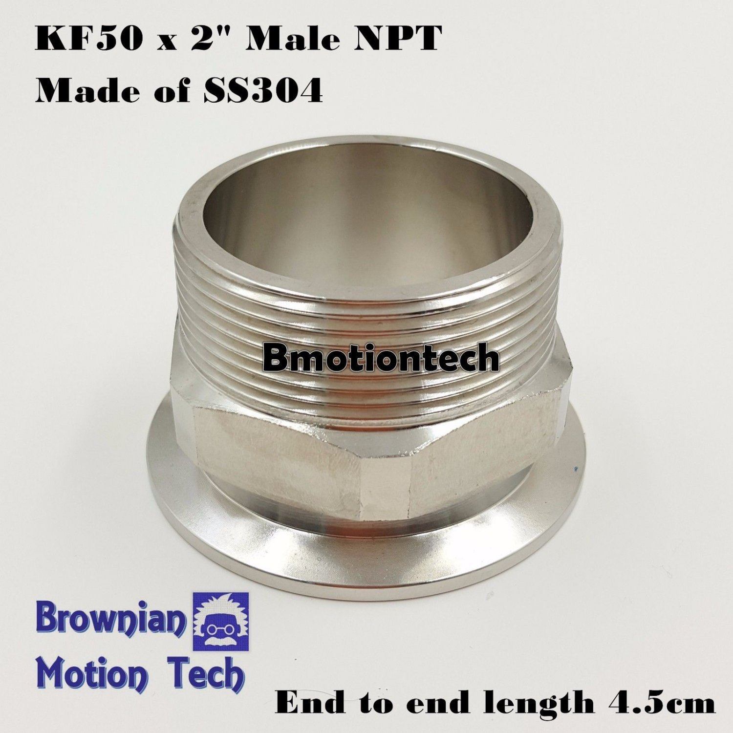"""Adapter KF50 Flange to 2""""  Male NPT, SS 304, vacuum fitting, MNPT w/ Hex nut"""